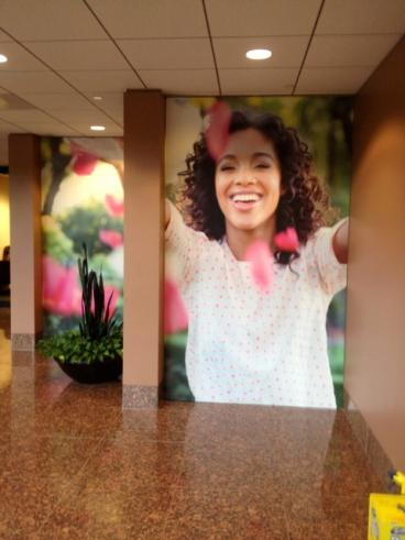 Mary Kay Headquarters lobby graphics by Speedpro Imaging of Dallas on Elmbrook Drive.