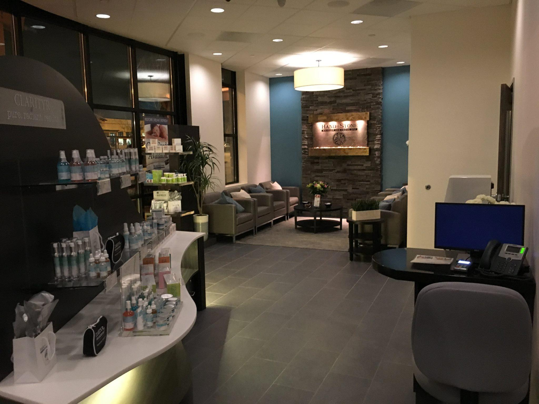 The lobby, retail island and reception area