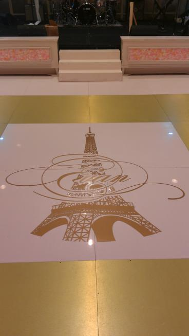 Metallic gold die cut floor decal