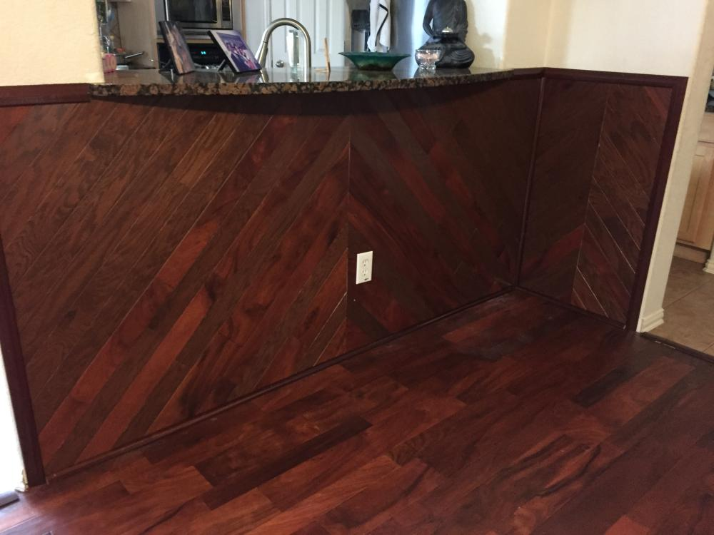 Flooring Material as Wall under Bar Area
