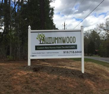 Autumnwood Neighborhood Sign in Sanford, NC