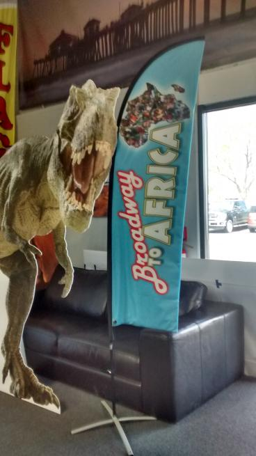 Indoor Displays: Direct Print to coroplast router cut Dinosaur,  Full Color 8ft Feather flag
