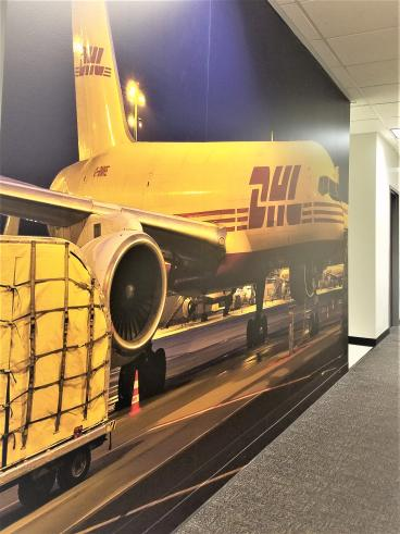 Wall Mural at DHL headquarters in Seattle and Bellevue WA