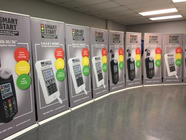 Retractable Banner Stands all in a row