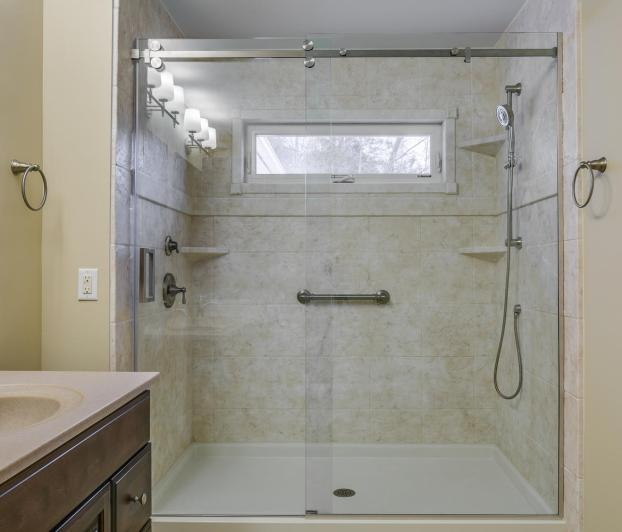 Full bathroom remodel including tub to shower conversion in Etters, PA.