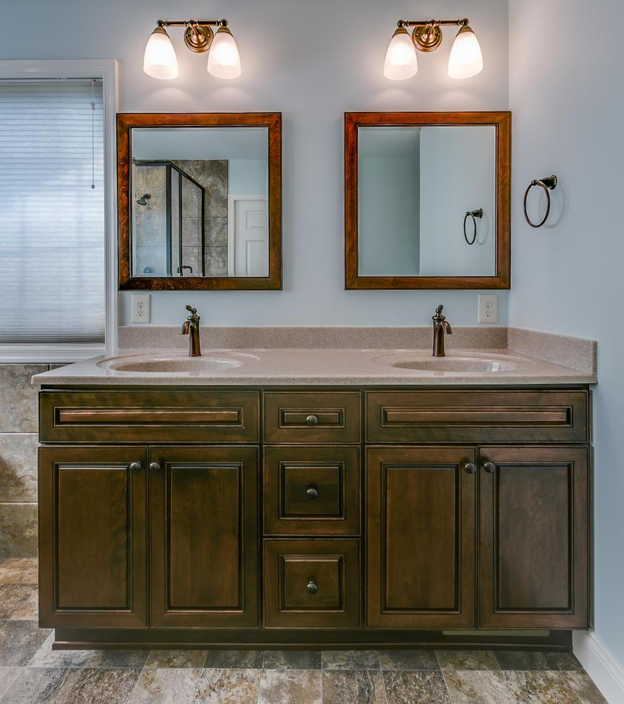 After - new vanity with framed mirrors