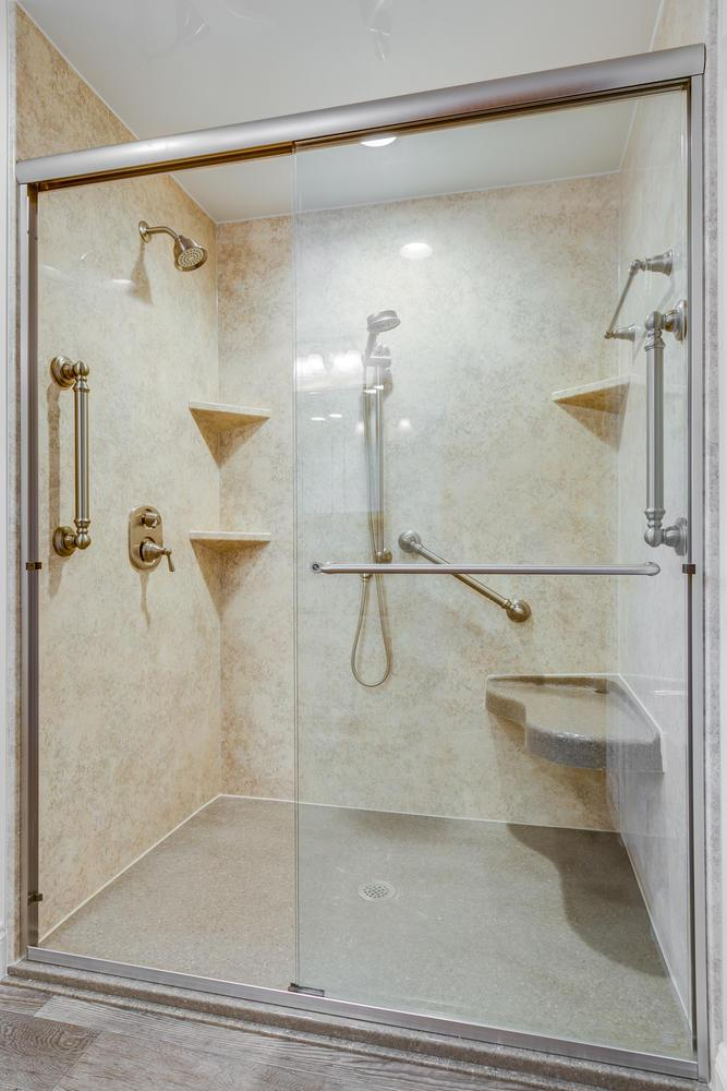 After - large, low threshold shower with seat