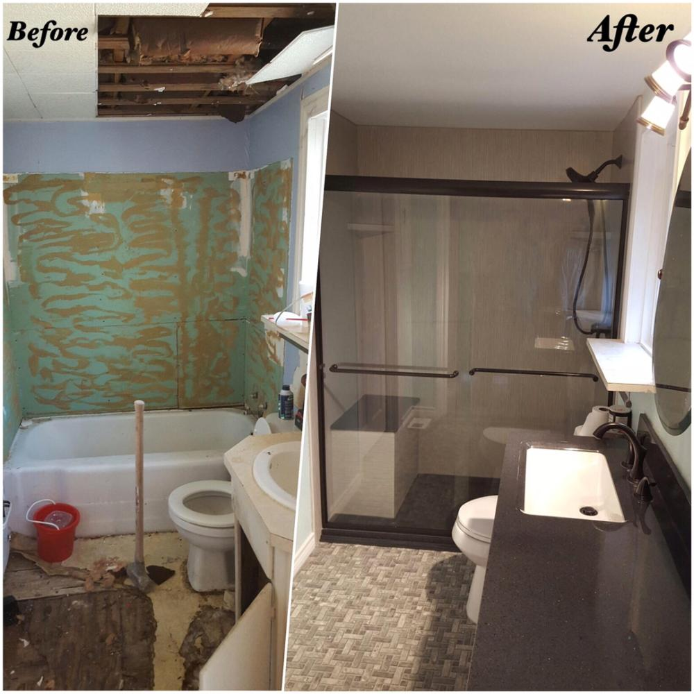 Full Bathroom remodel, Tub to shower conversion with Brushed Linen on the walls.