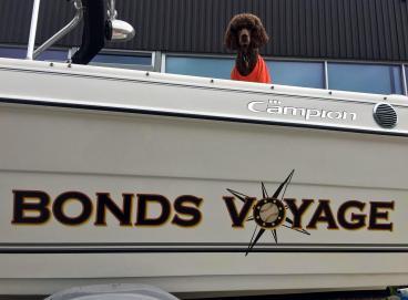 Bonds Voyage boat lettering