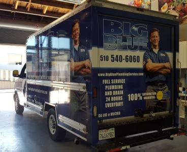 Big Blue Plumbing truck wrap