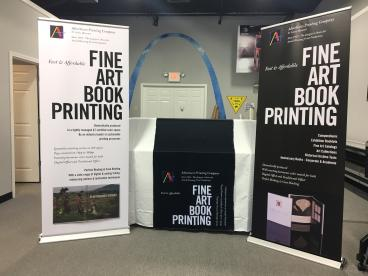 Banner stands and table runner for upcoming show