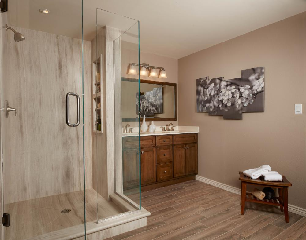 Warm Natural Stone is Re-Bath's grout-less solution to the higher end / custom bathrooms.