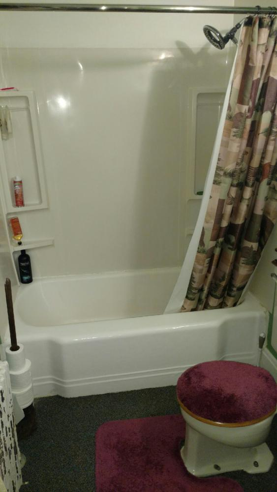 We removed the existing cast iron tub and fiberglass wall surround.