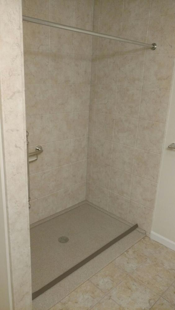 After - ramped shower base with collapsable threshold in Harrisburg, PA