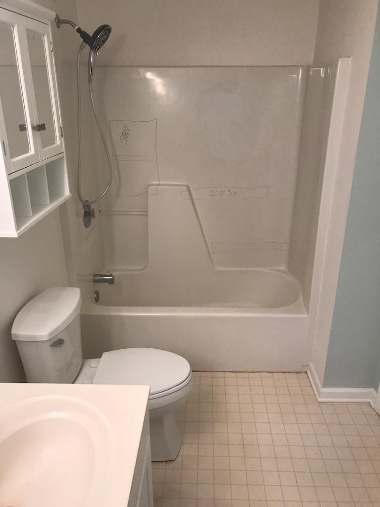 Bathtub / Shower Stall Before Work By Rebath Charlotte