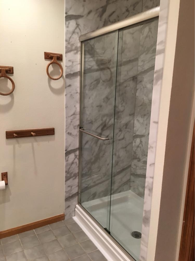 White Calcutta Shower Remodel Provo Utah