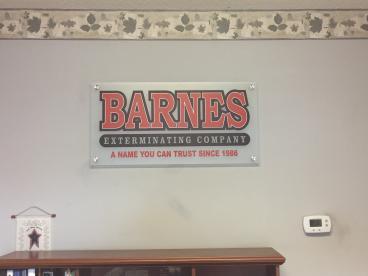 Interior Glass Sign for Barnes Exterminating