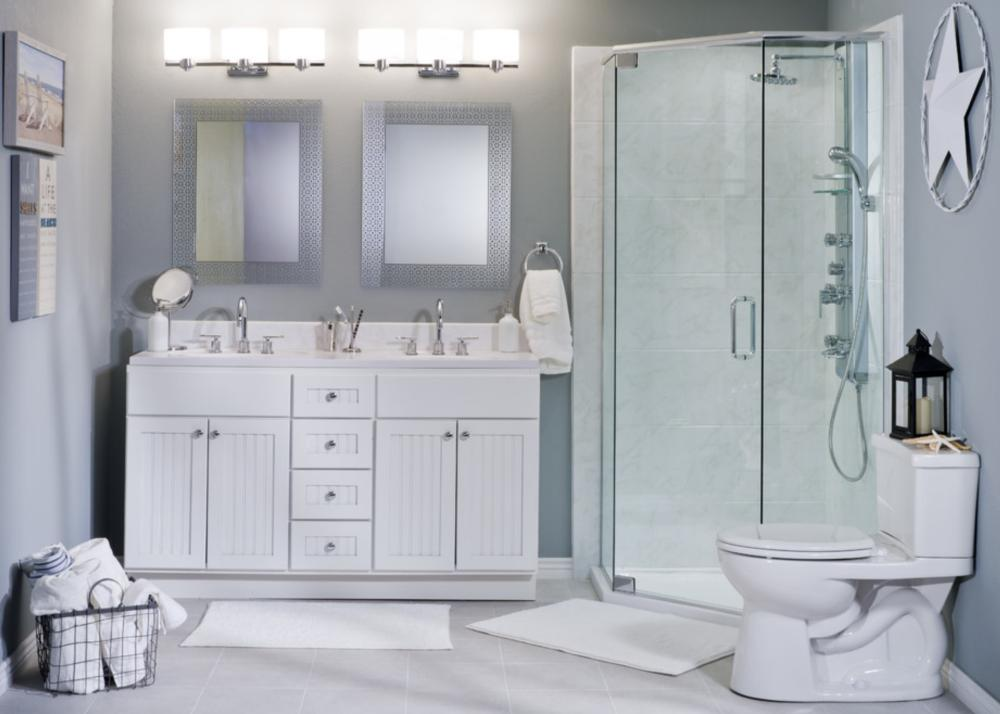 Solid Surface Shower in Ivory Marble with Rain Head Shower Head and Handheld
