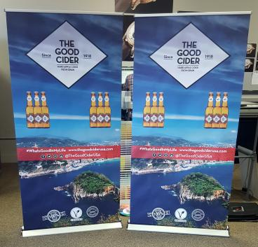 The Good Cider retractable banners