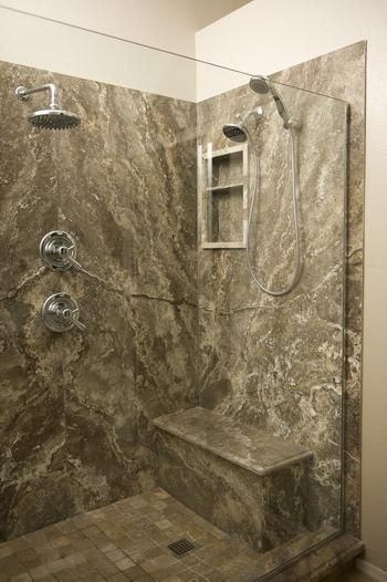 Marble Shower with Custom Bench and Built-In Niche