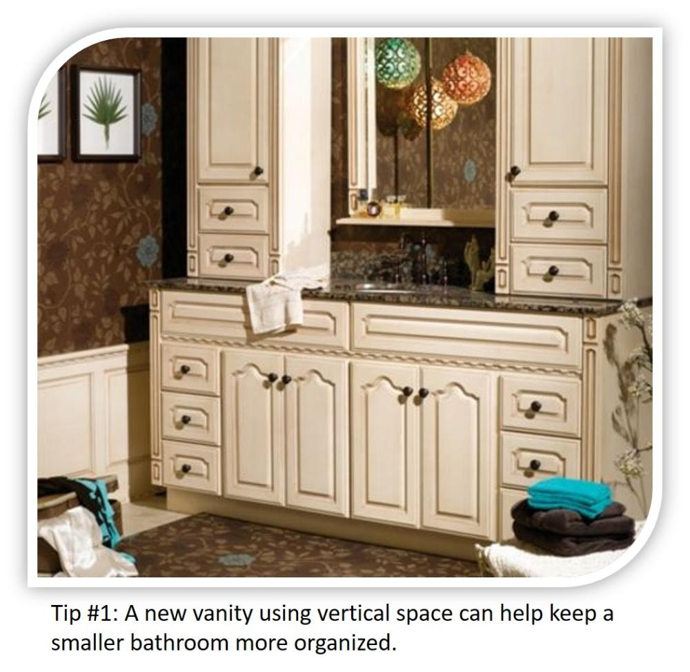 Small Bathroom Tip #1: A vanity using verticle space adds more space!