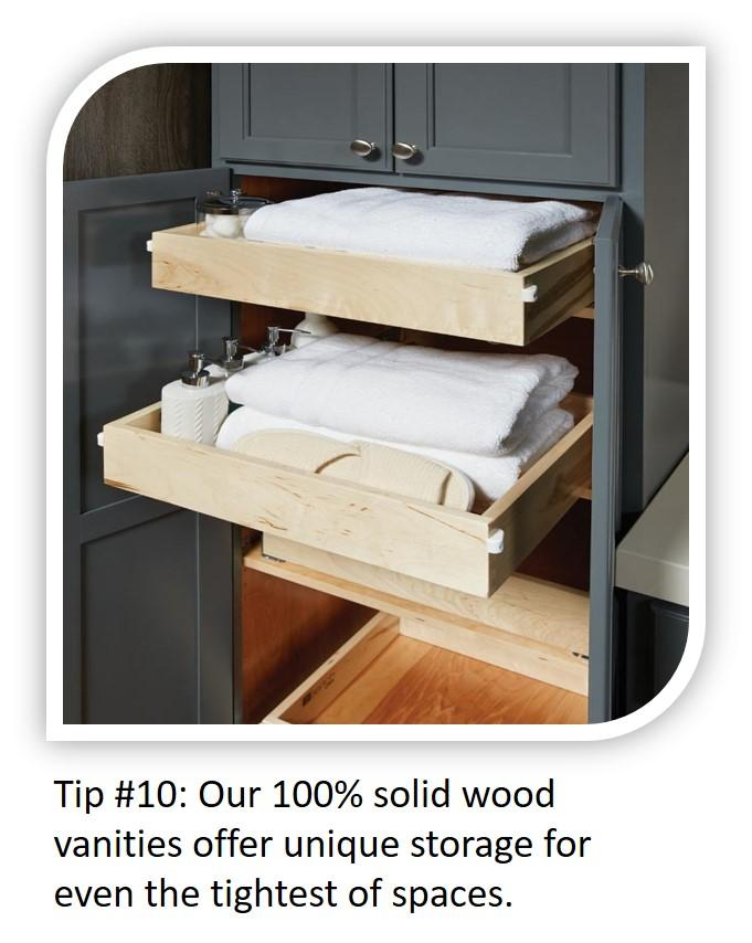 Small Bathroom Tip #10: Unique storage solutions for even the tightest of spaces!
