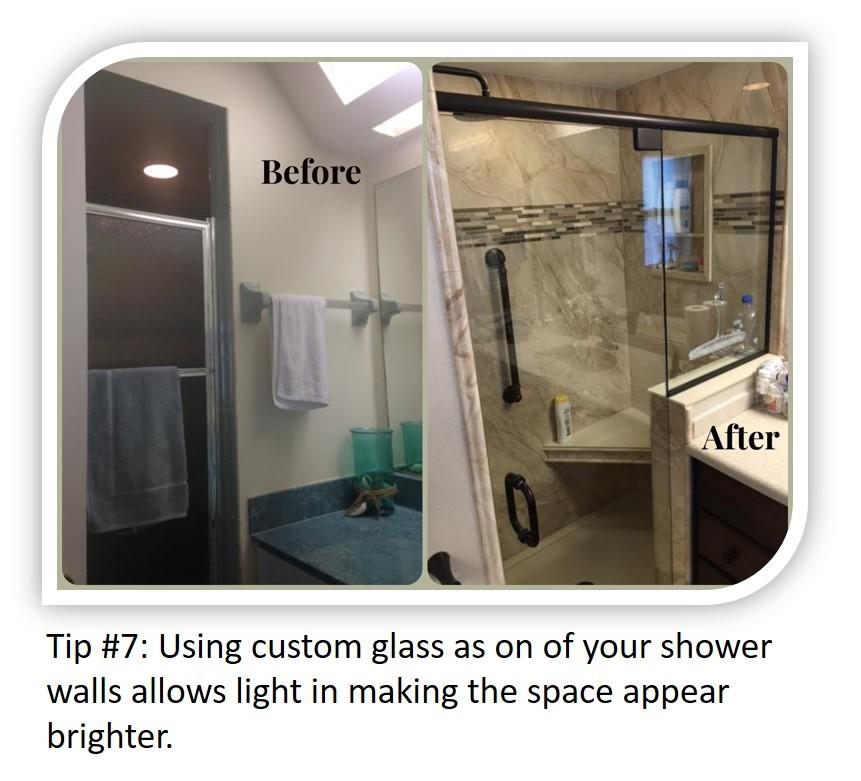 Small Bathroom Tip#7: Taking out a partial wall and replacing with glass adds the look of more space