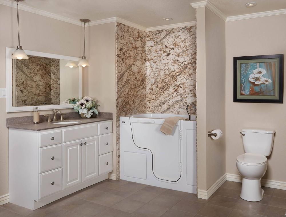 Walk-In Safety Tub with Solid Surface Surround in Biscayne Granite