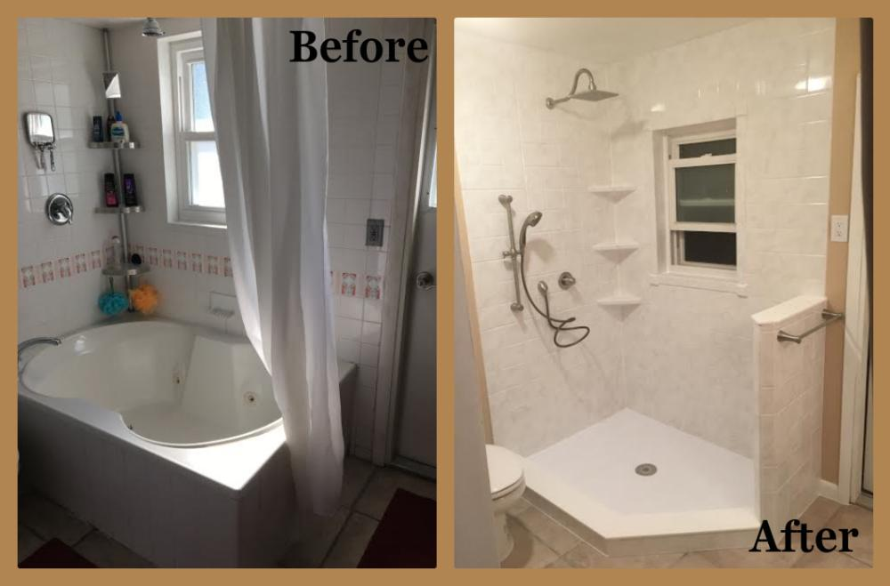 Large Jetted Garden Tub to Walk-In Shower in Durabath Solid Surface White Marble with Rain Head
