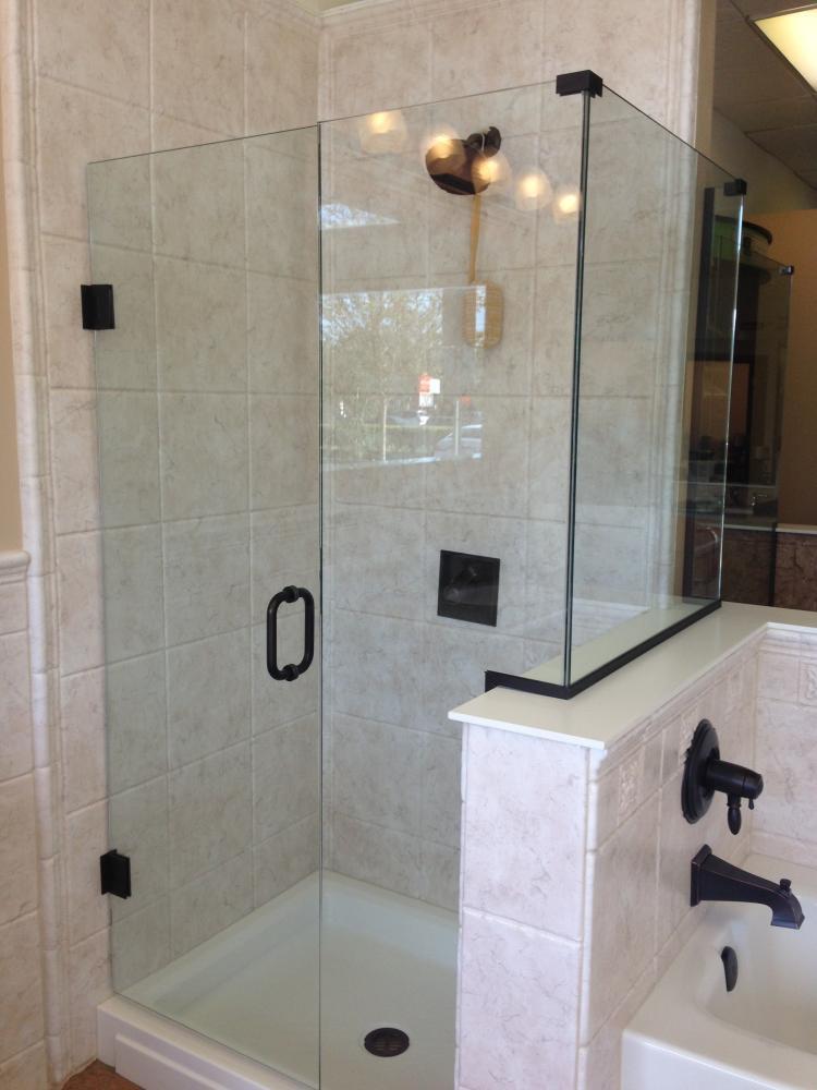 Custom Solid Surface Shower and Tub Surround in Trivoli Travertine