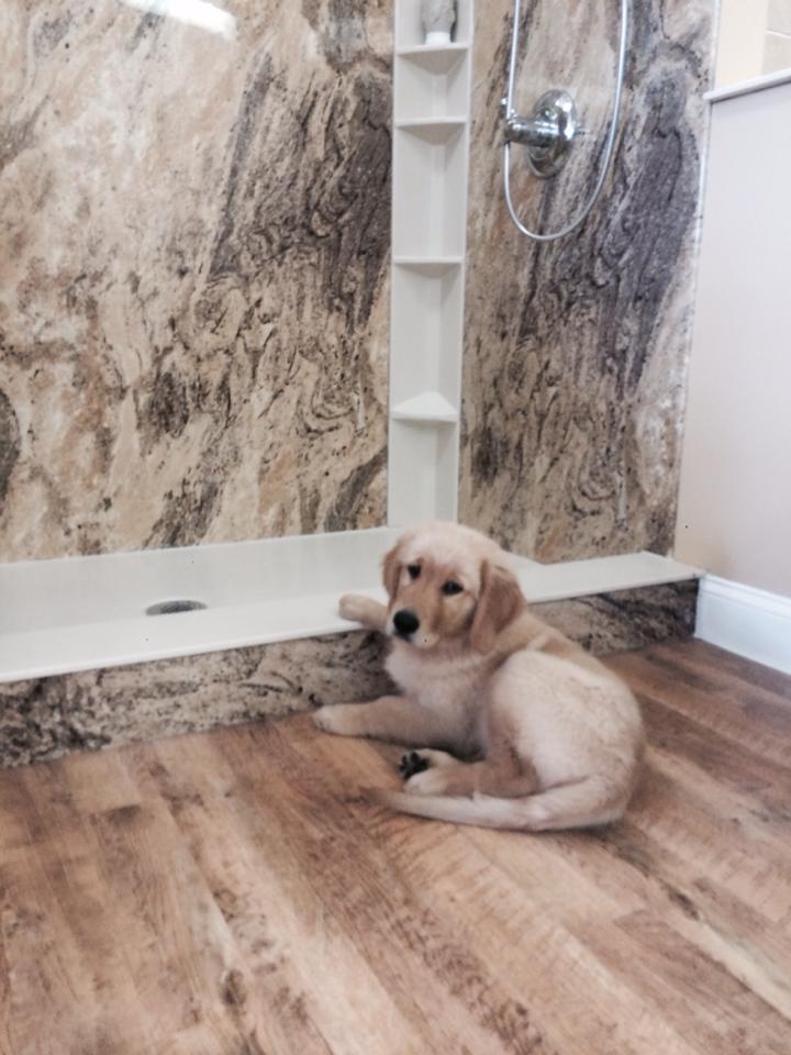 DuraBath Acrylic Shower in Adara Granite with Mannington Adura Flooring