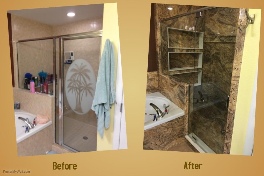 Custom Shower in DuraBath in Adara Granite with Niches and Glass Shower Door