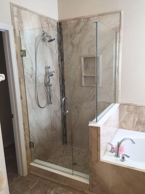 Natural Stone Shower and Tub Surround in French Mocha Marble
