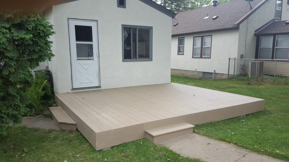 NE Minneapolis - Removed old concrete stoop and built ground level Deckorator composite deck