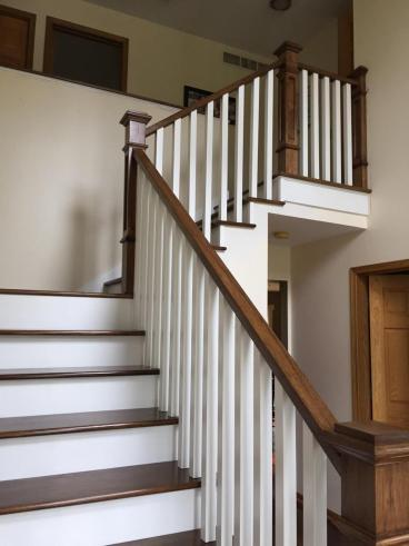 Replace outdated carpeting and old handrails with hickory railings and treads  Eden Prairie