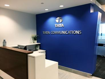 Tata Communications Brushed Aluminum Wall Lettering
