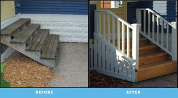 Replace worn stairs and added handrails in St. Paul
