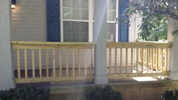 Built Railings on the front of the home in Blacklick