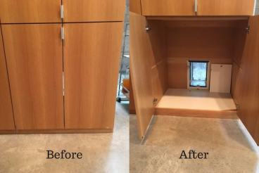 Before and After Cupboard Dog Door