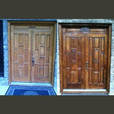 Door Stain Before and After