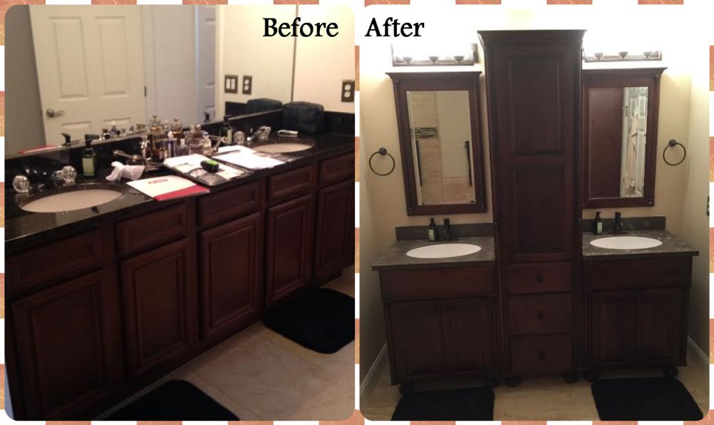 Before and After...a vertical cabinet from Bertch adds more space!