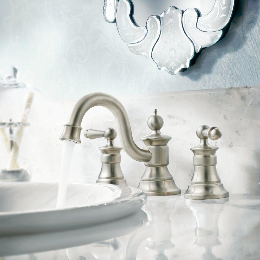 Moen sink faucet in brushed nickel.