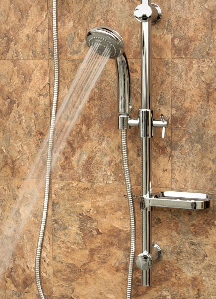 Moen shower head with sliding handheld in chrome.