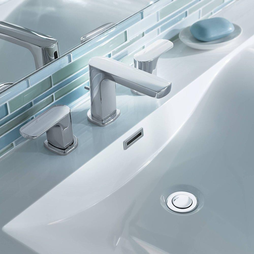 Modern Moen sink faucet in chrome.