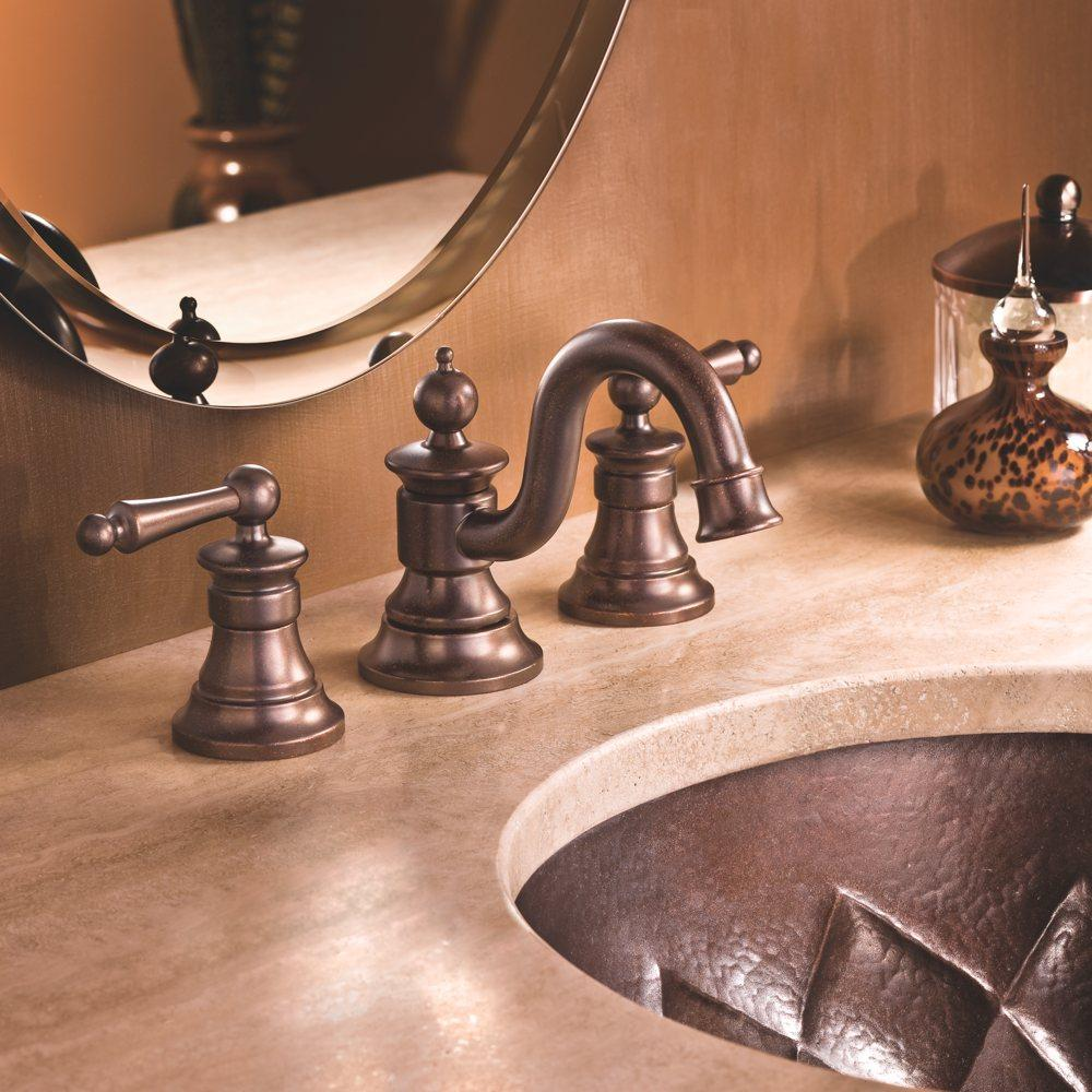 Moen sink faucet in oil rubbed bronze.