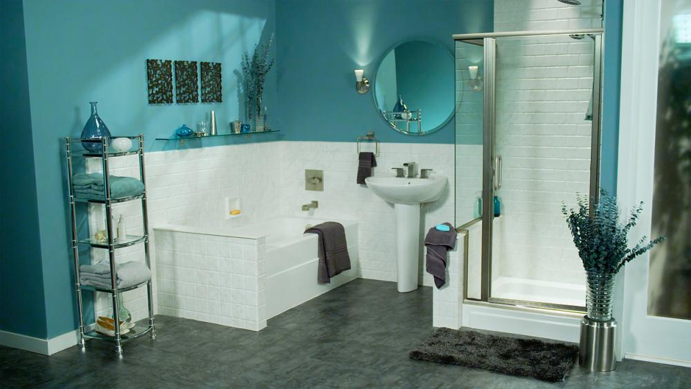 Custom DuraBath Solid Surface Shower, Tub Surround and Wainscotting in White Subway Tile Style