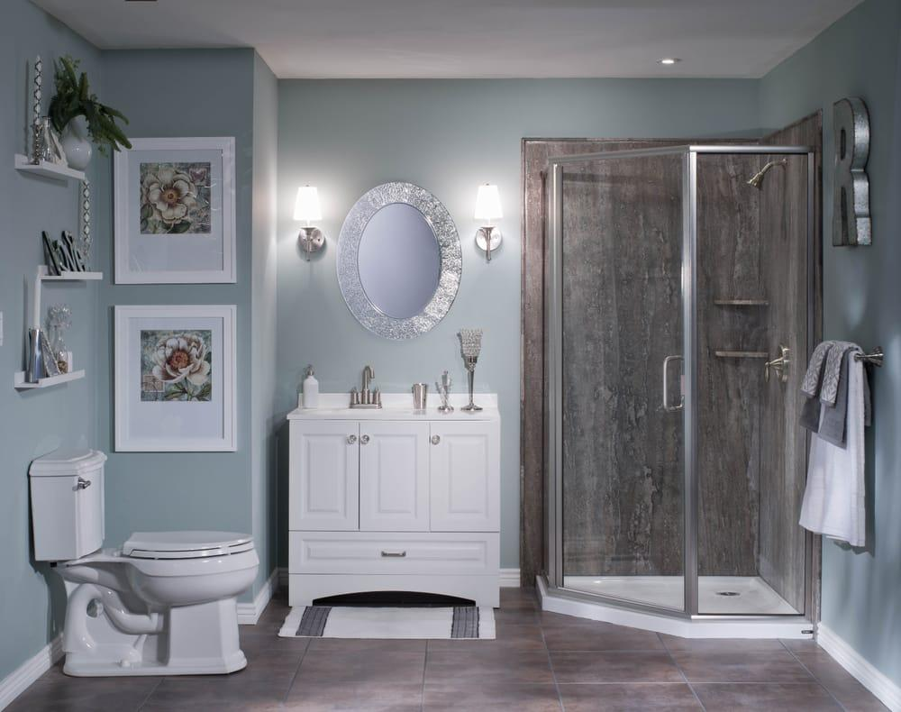 Cool gray colors are on trend for 2018 for your #bathroom... Looking to remodel? We do it all! Call for a free, in-home bathroom remodeling consultation.