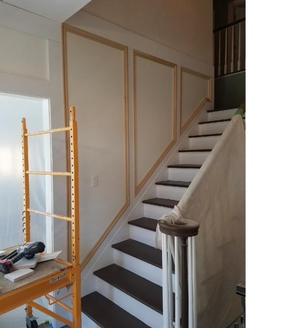Before #1 Custom carpentry mouldings & trim added to two story staircase  in Upper St. Clair , PA