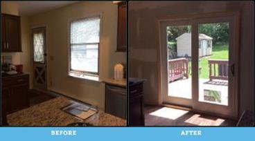 Before and After Photo of French Door Installation in Scranton
