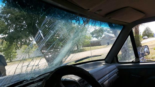 A jackrabbit hit this windshield.
